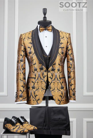 Gold Pattern Tuxedo Set - Black Shawl Lapel