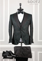 Hunter Green Pattern Tuxedo Set - Peak Lapel