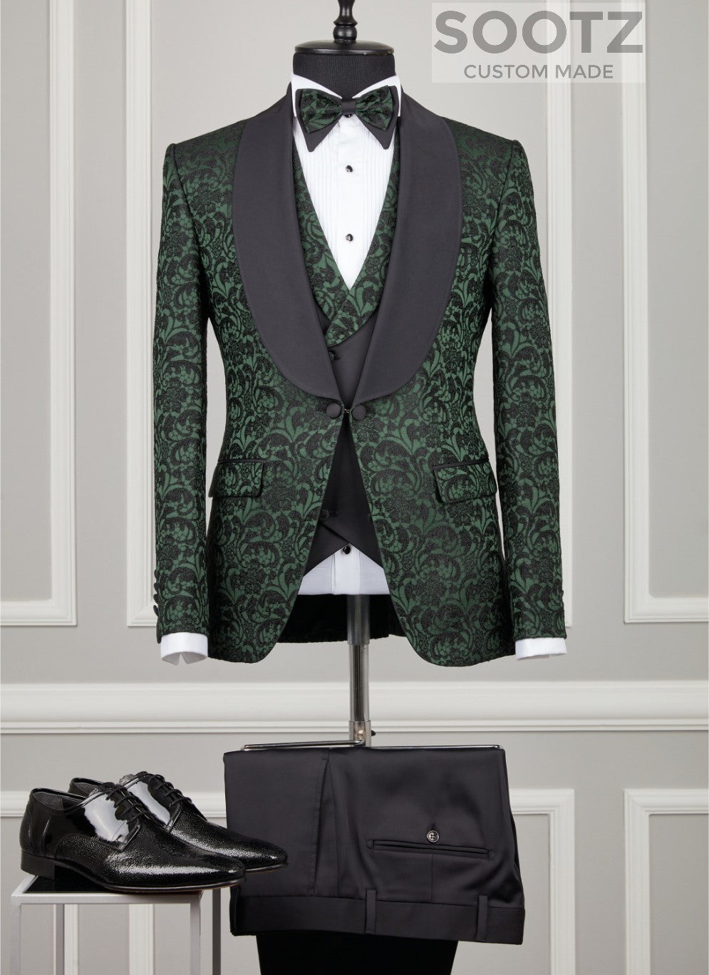 Hunter Green Floral Tuxedo Set - Shawl Lapel