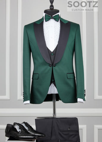 Hunter Green 3 Piece Tuxedo Set - Peak Lapel