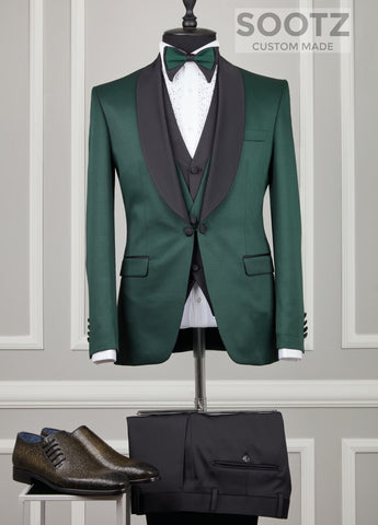 Hunter Green 3 Piece Tuxedo Set - Shawl Lapel