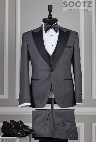 Grey 3 Piece Tuxedo Set - Peak Lapel