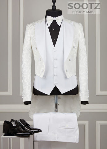 White Jaquard Morning Coat