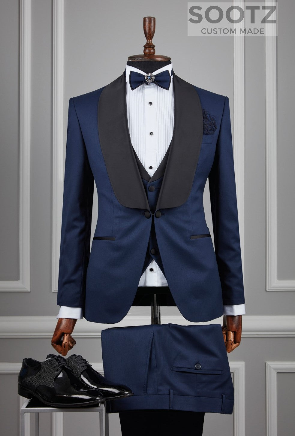 Midnight Blue 3 Piece Tuxedo Set - Shawl Lapel