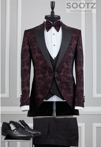 Maroon Paisley Morning Coat