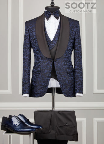 Navy Pattern Tuxedo Set - Shawl Lapel