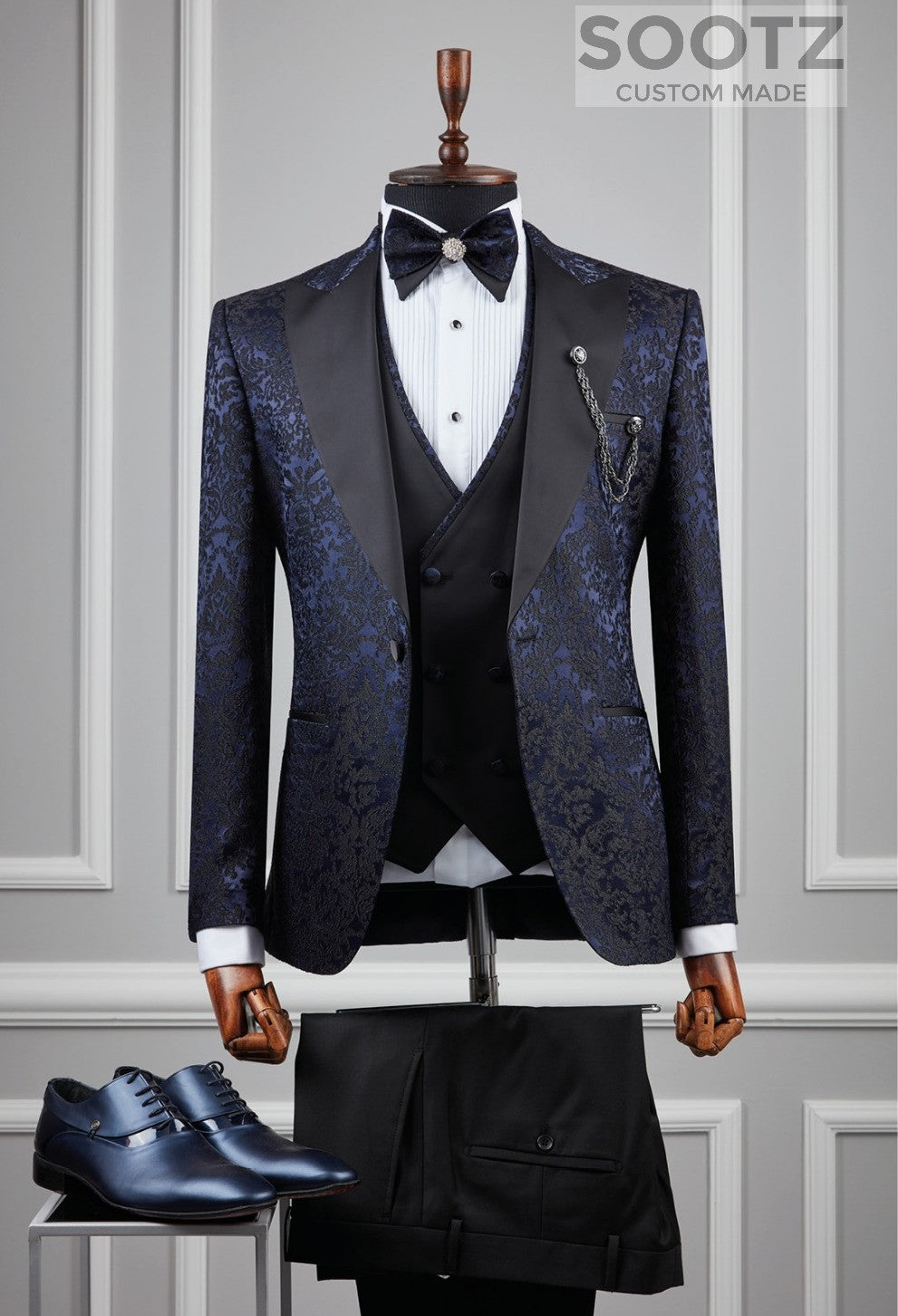 Navy Floral Pattern Tuxedo Set - Peak Lapel