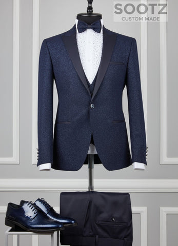 Navy Textured Shine Tuxedo Set - Peak Lapel
