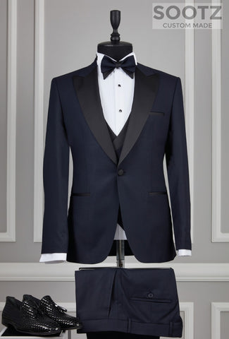 Navy 3 Piece Tuxedo Set - Peak Lapel
