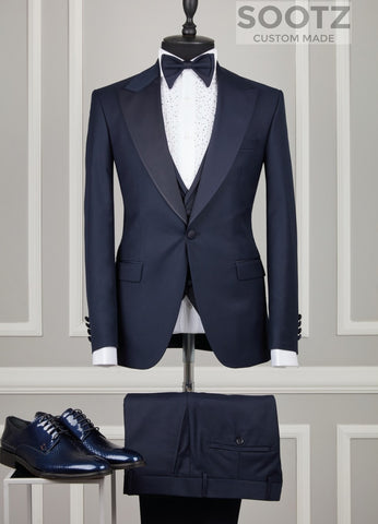 Navy 3 Piece Tuxedo Set - Matching Peak Lapel