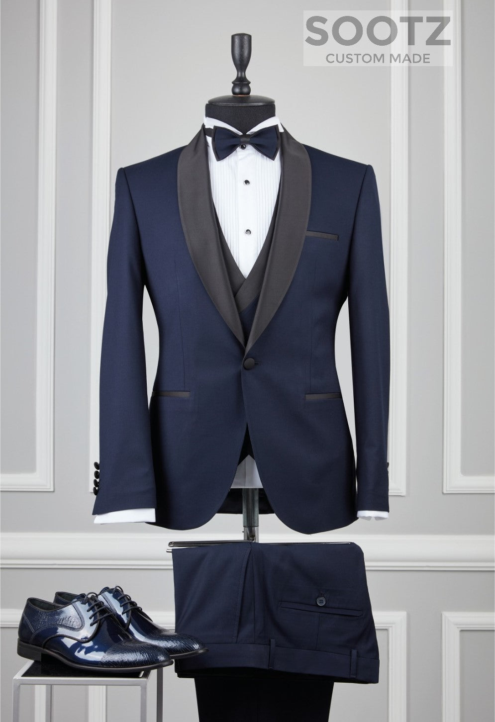 Navy 3 Piece Tuxedo Set - Shawl Lapel