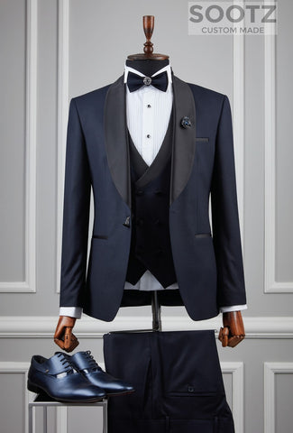Navy 3 Piece Tuxedo Set - Shawl Lapel Wide