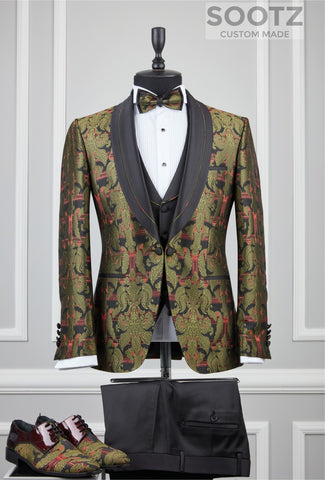 Olive Patterned Tuxedo Set - Shawl Lapel