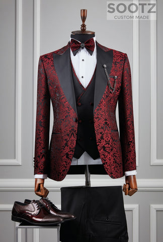 Red Floral Pattern Tuxedo Set - Peak Lapel