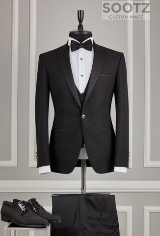 Black Textured Shine Tuxedo Set - Peak Lapel
