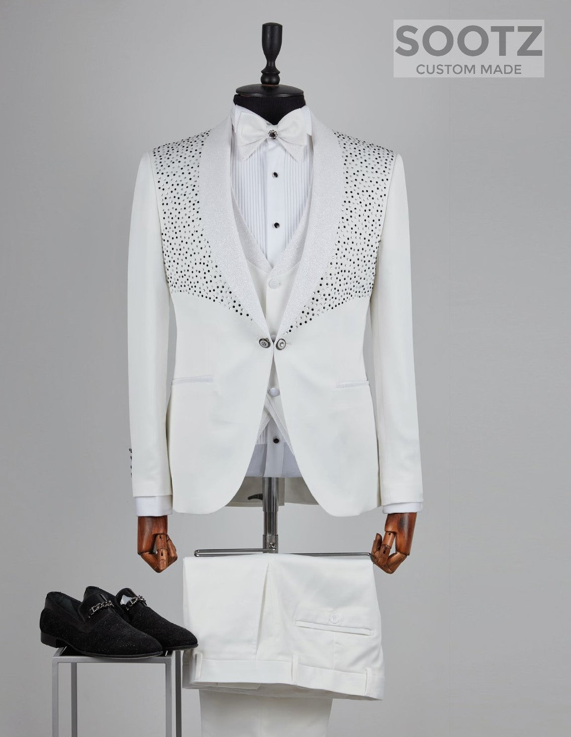 White Diamond Tuxedo Set - Shawl Lapel