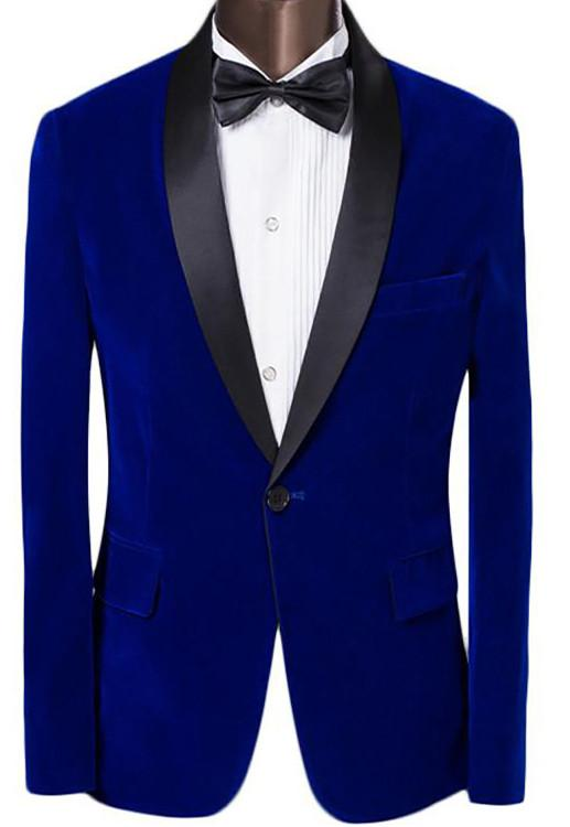 Sootz Royalty Blue Velvet Tuxedo Jacket - Sootz