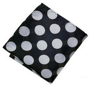 Grey Black Polka Dot Pocket Square - Sootz
