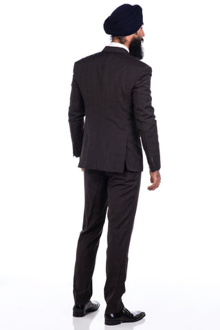 Sootz Cashmere Wool Dark Brown Checker Suit - Sootz