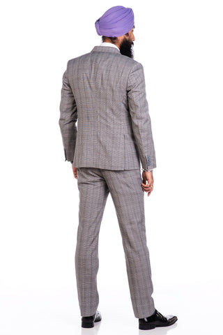 Sootz Cashmere Wool Gray Checker Suit - Sootz