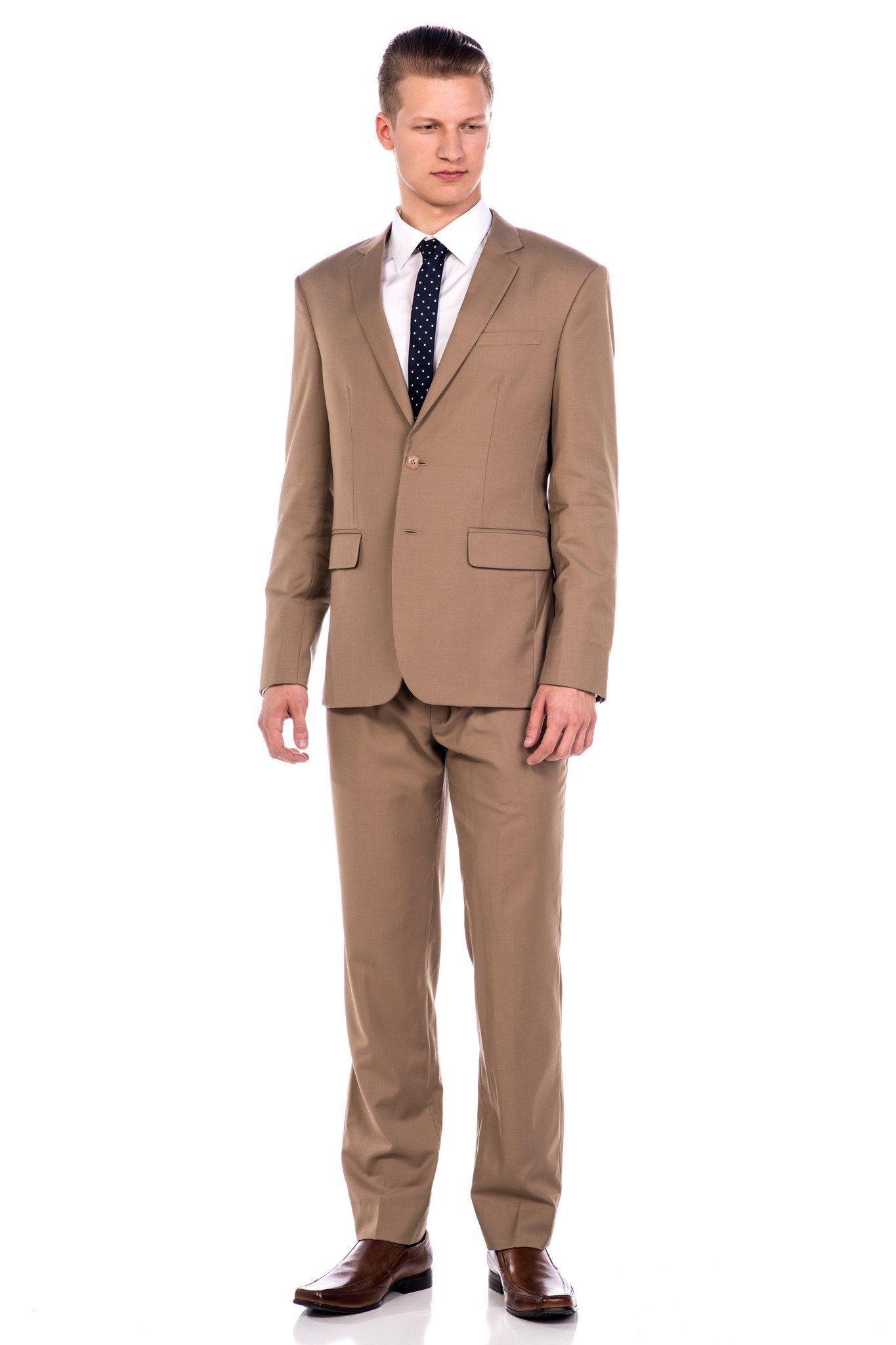 Suit - Sootz Cashmere Wool Light Brown Suit