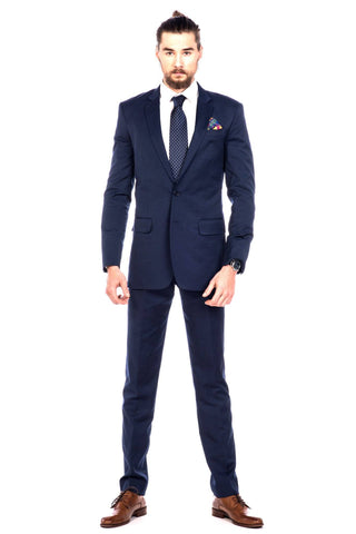 Suit - Sootz Cashmere Wool Navy Blue Checkered Suit