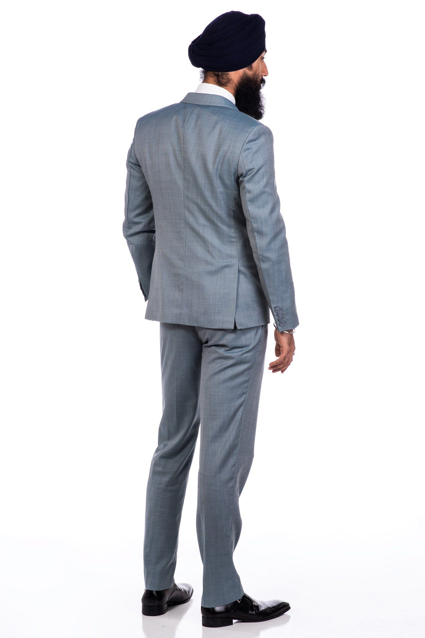 Sootz Cashmere Wool Teal Gray Blend Suit - Sootz