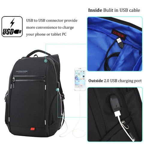 Nylon Waterproof Backpack with USB Charging Port