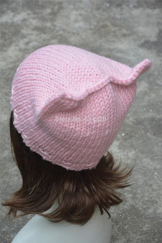 Hand Made Crocheted Pink Cat Beanie