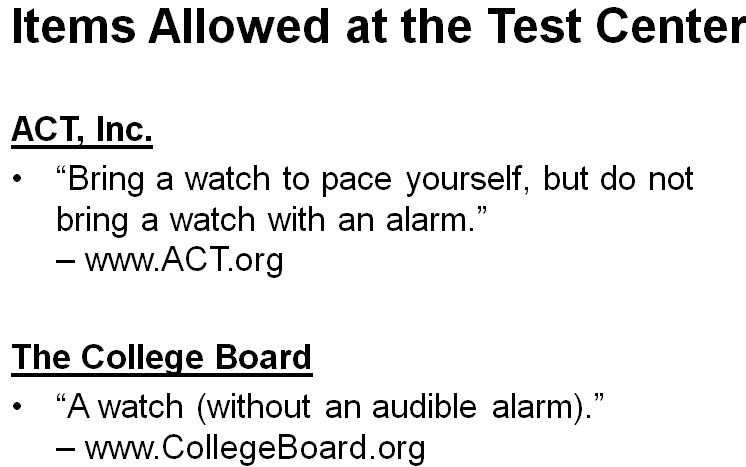 Allowed by College Board and ACT, Inc.