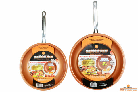 The original copper pan 10-Inch + 12 inch set, As seen on tv