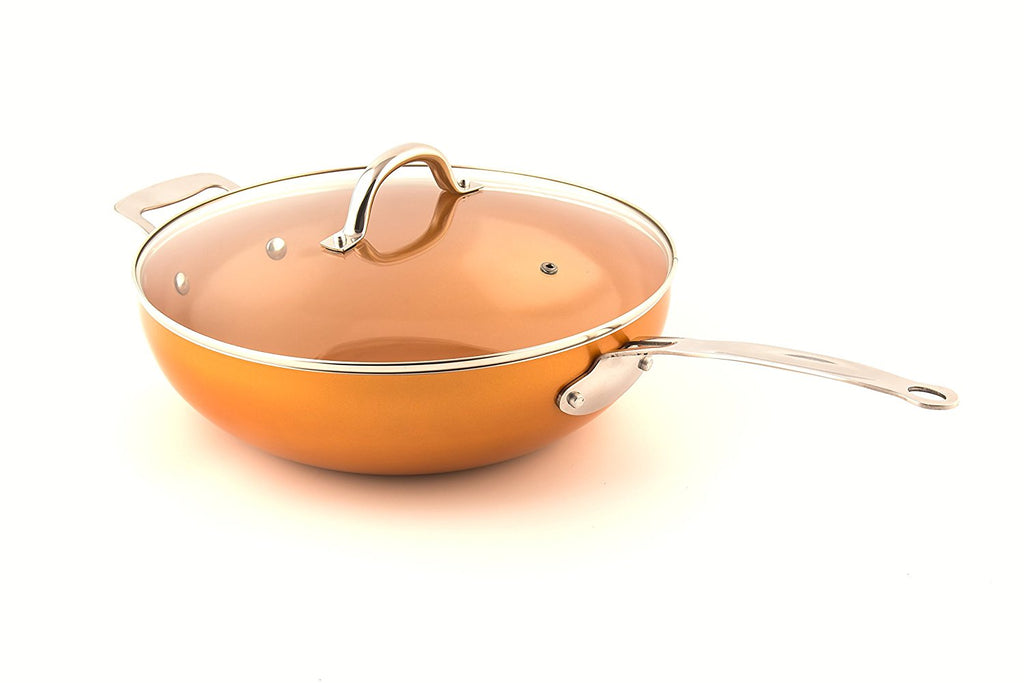 "Original Copper Pan 12"" Non-Stick Wok with Lid"