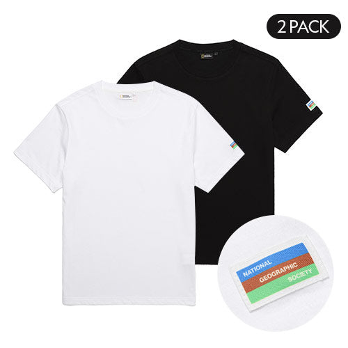 National Geographic 2 Pack Cotton T-shirts Black & White N202UPA910003  - HALLYU MART