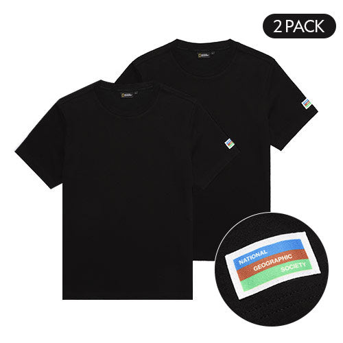 National Geographic 2 Pack Cotton T-shirts Black N202UPA910099  - HALLYU MART