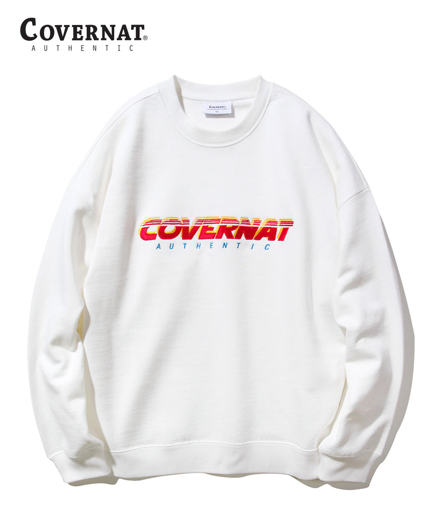 Covernat Speed Logo Crewneck Sweatshirt White  - HALLYU MART