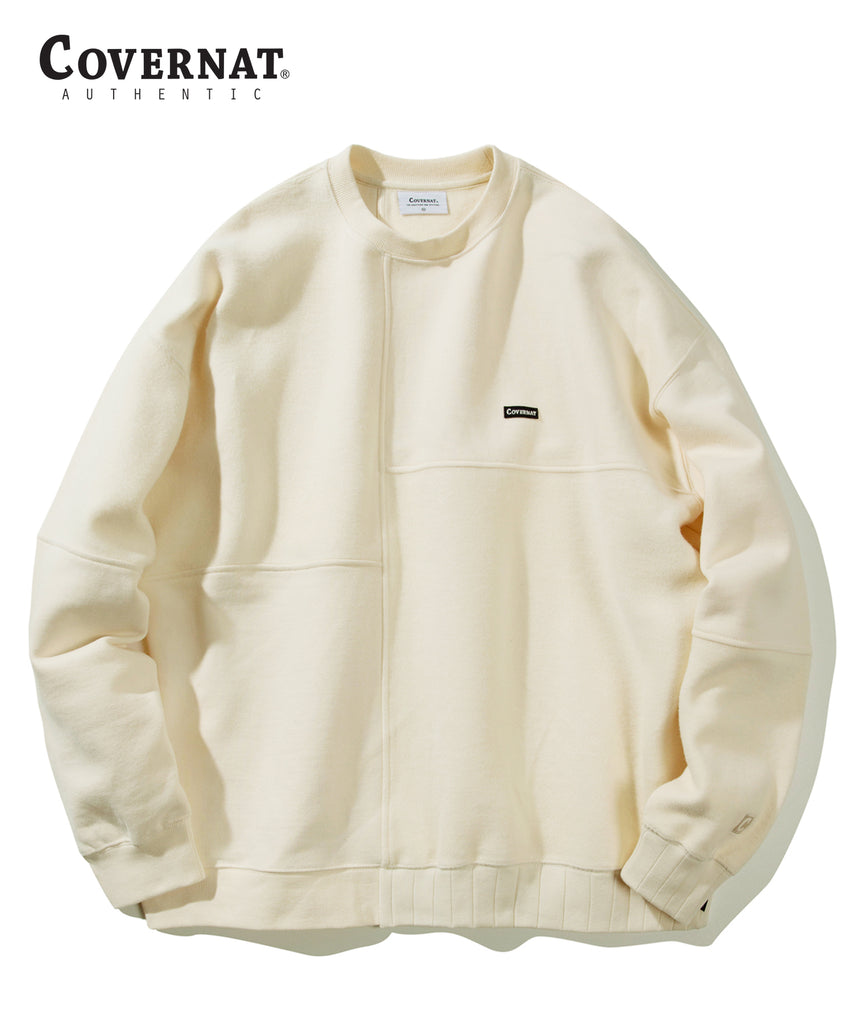 Covernat Fabric Mixed Crewneck Sweatshirt Cream  - HALLYU MART