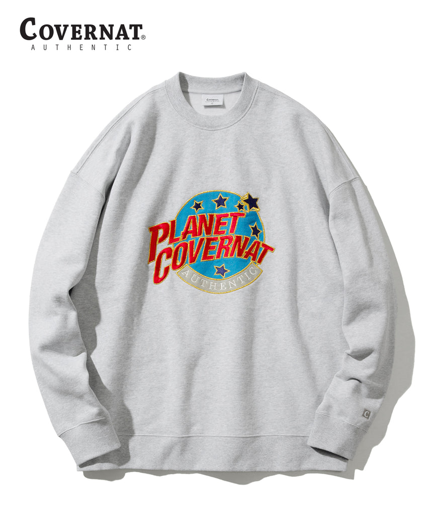 Covernat Star Planet Crewneck Sweatshirt Grey  - HALLYU MART