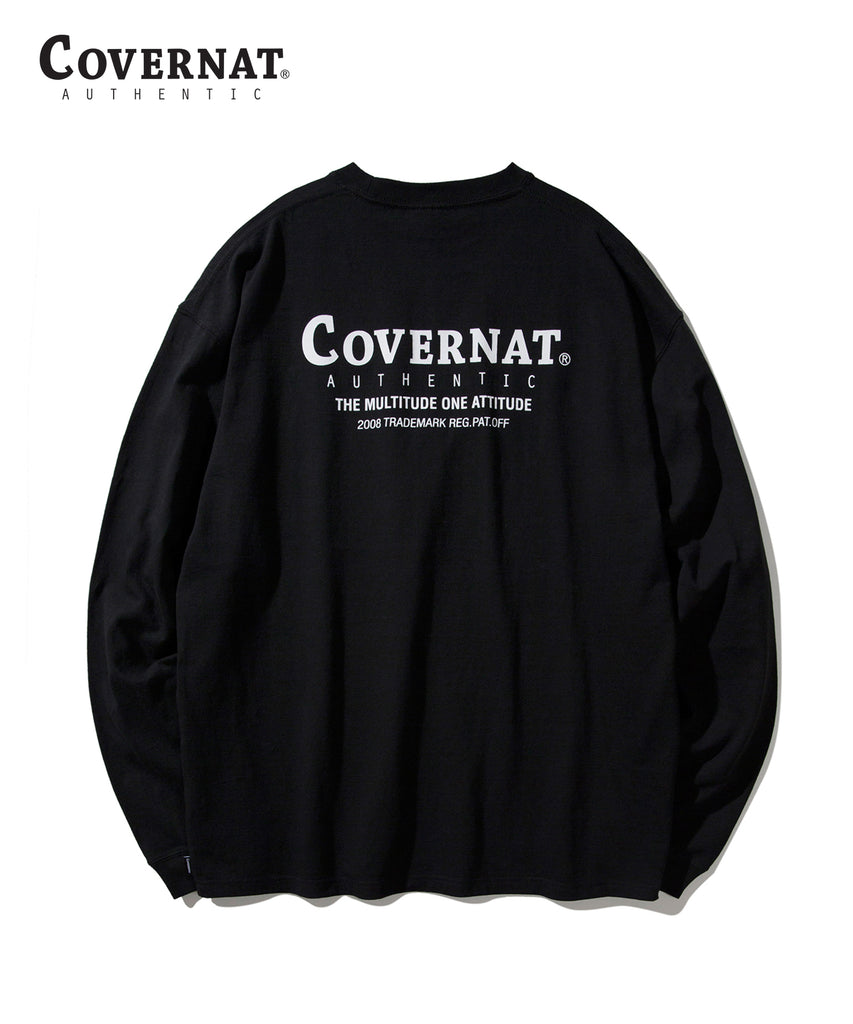 Covernat Layout Logo Long Sleeve T-shirts Black  - HALLYU MART