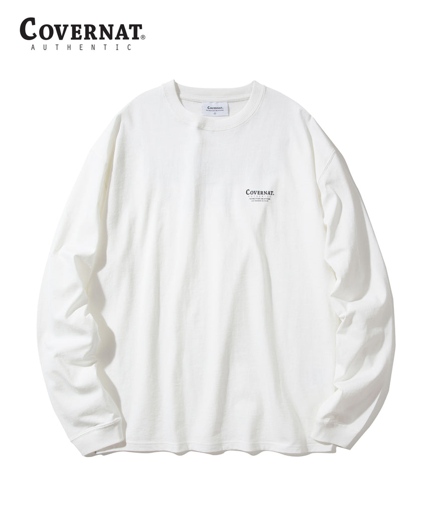 Covernat Layout Logo Long Sleeve T-shirts Off White  - HALLYU MART