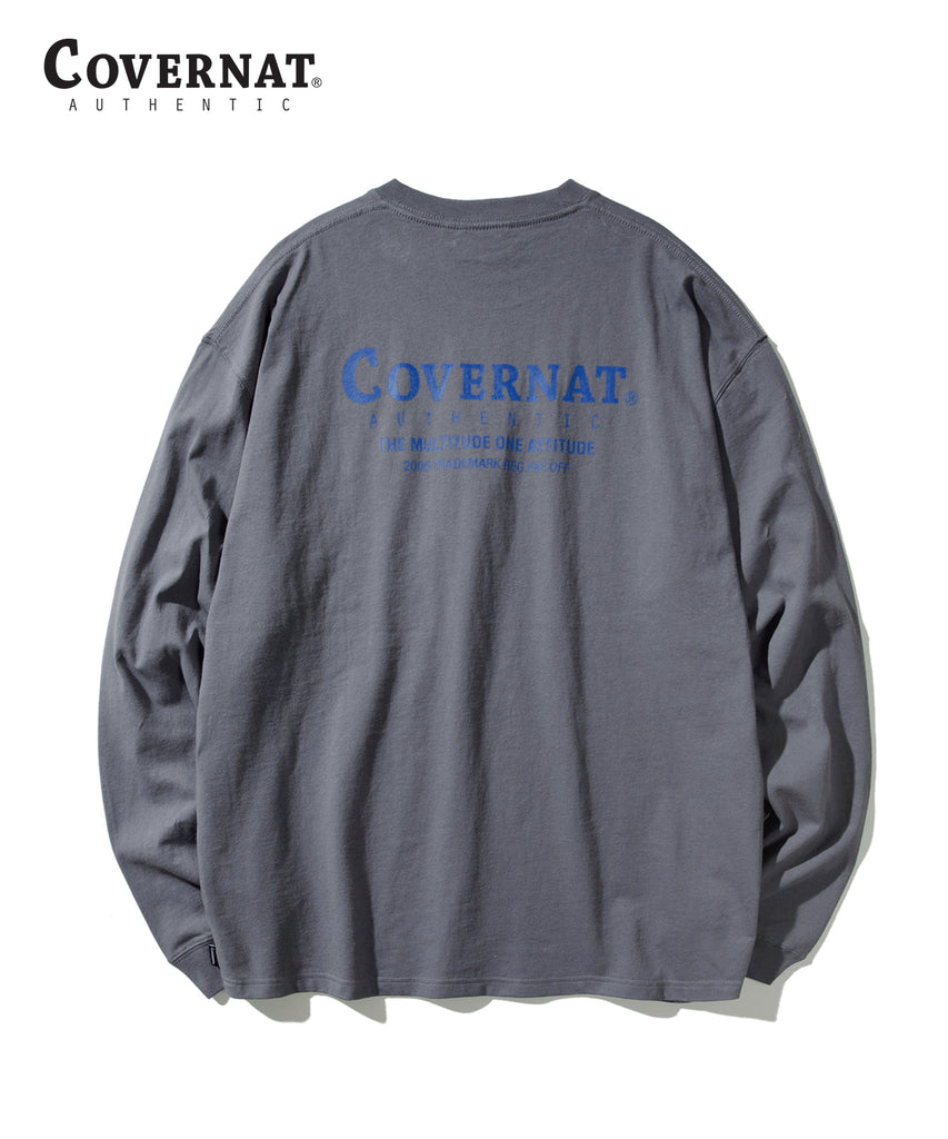 Covernat Layout Logo Long Sleeve T-shirts Charcoal  - HALLYU MART