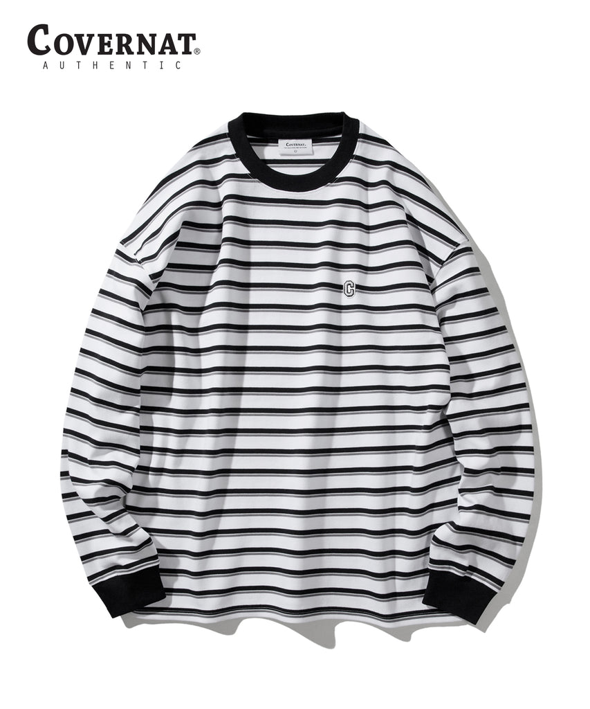 Covernat Stripe Long Sleeve T-shirts Off White  - HALLYU MART