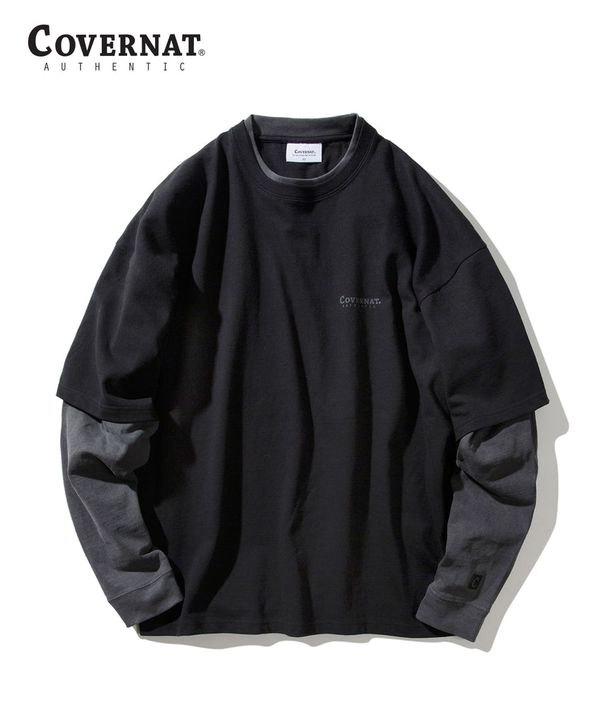 Covernat Layered Authentic Long Sleeve T-shirts Black  - HALLYU MART