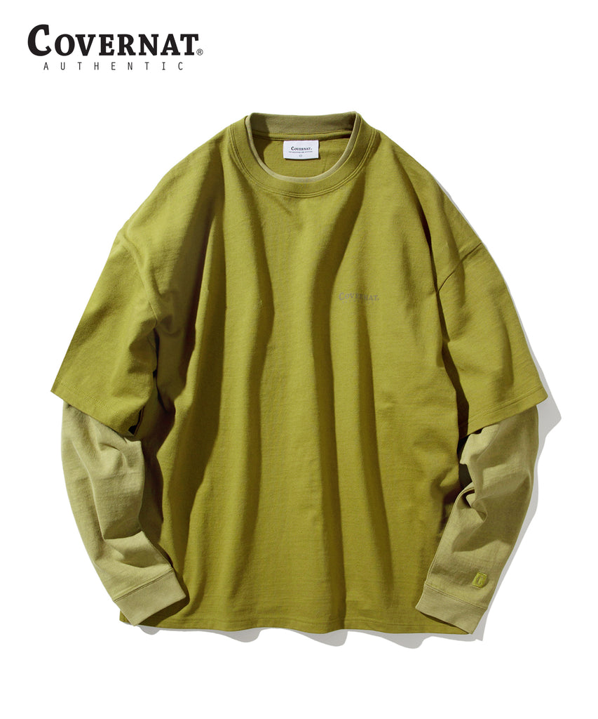Covernat Layered Authentic Long Sleeve T-shirts Olive Green  - HALLYU MART