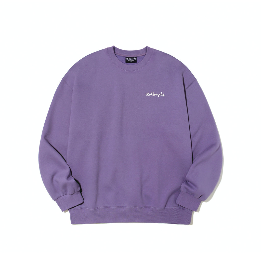 Mark Gonzales M/G Small Sign Logo Crewneck T-shirts Purple  - HALLYU MART