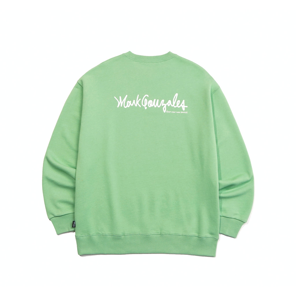Mark Gonzales M/G Small Sign Logo Crewneck T-shirts Sage Green  - HALLYU MART