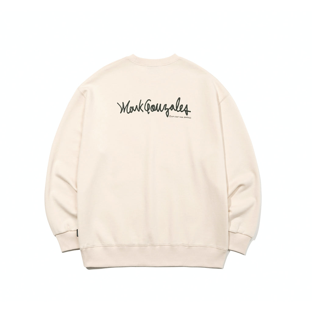 Mark Gonzales M/G Small Sign Logo Crewneck T-shirts Ivory  - HALLYU MART