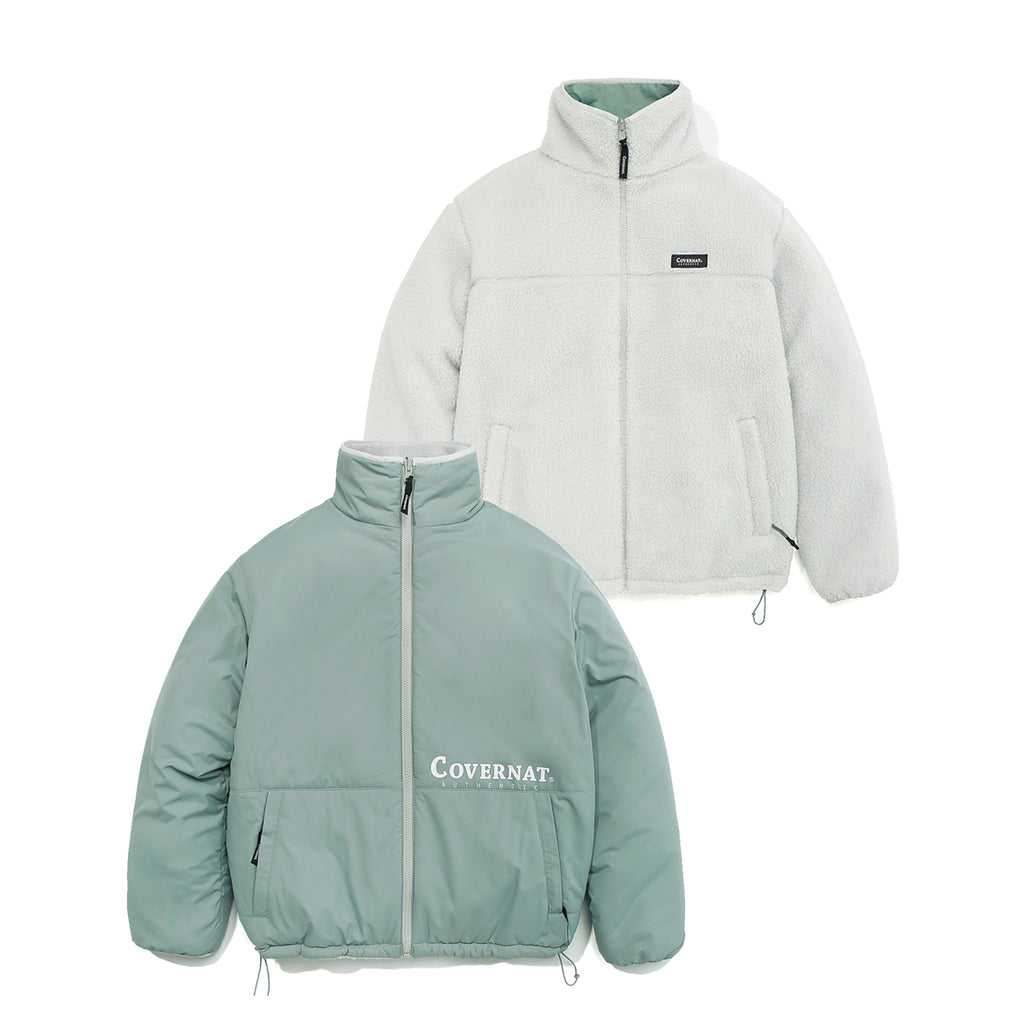 COVERNAT Reversible Fleece ZIP-UP Jacket Mint  - HALLYU MART