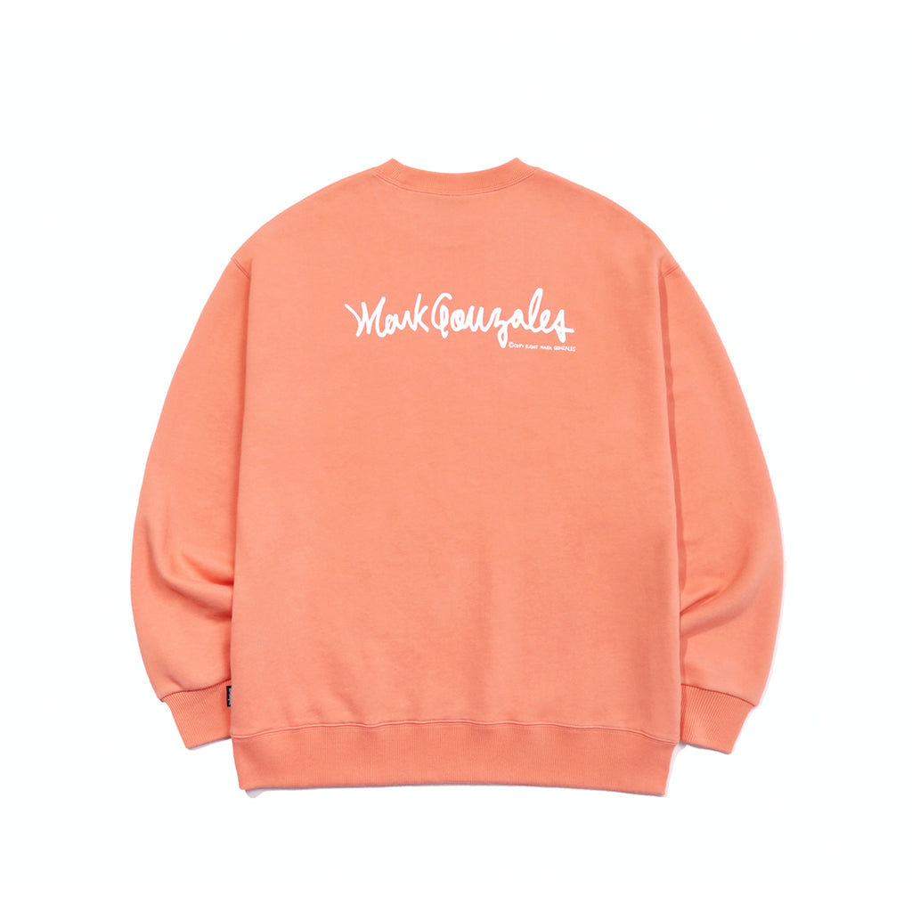 Mark Gonzales M/G Small Sign Logo Crewneck T-shirts Peach  - HALLYU MART