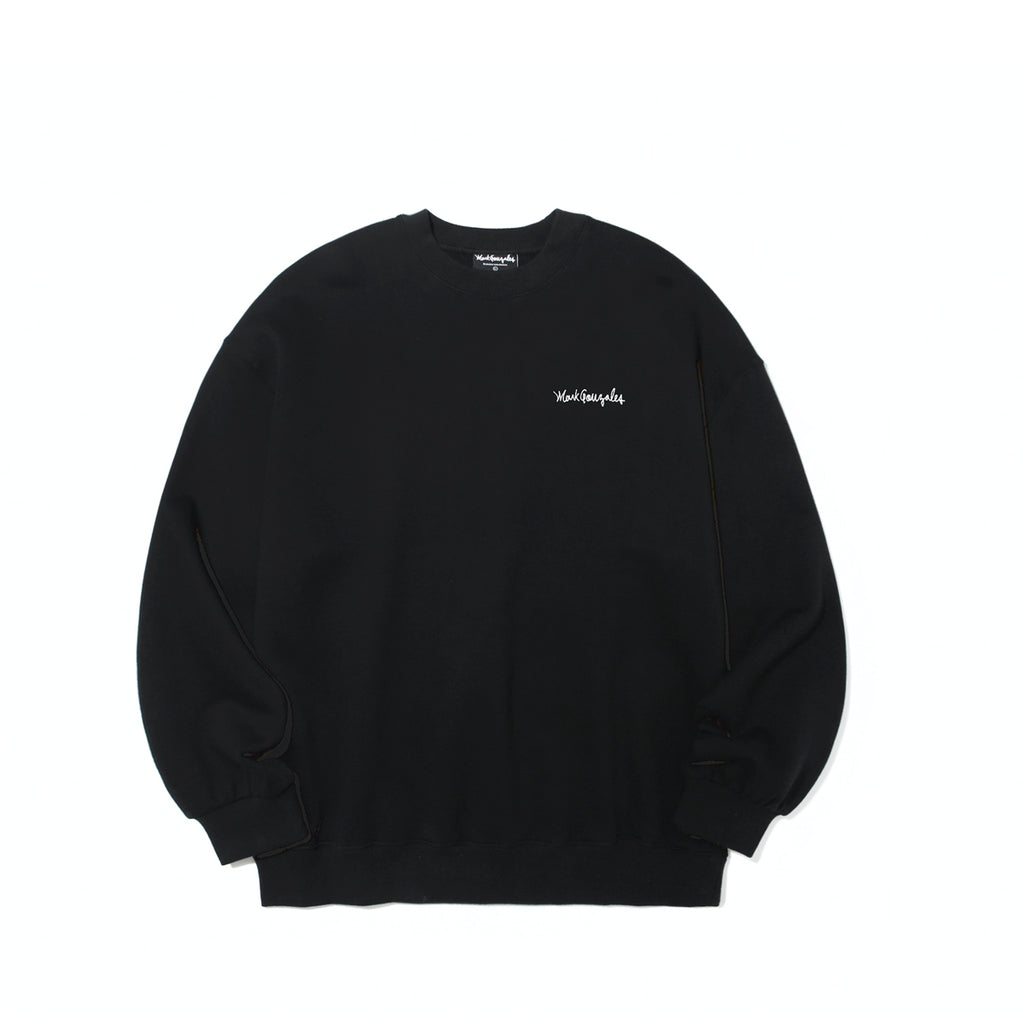 Mark Gonzales M/G Small Sign Logo Crewneck T-shirts Black  - HALLYU MART