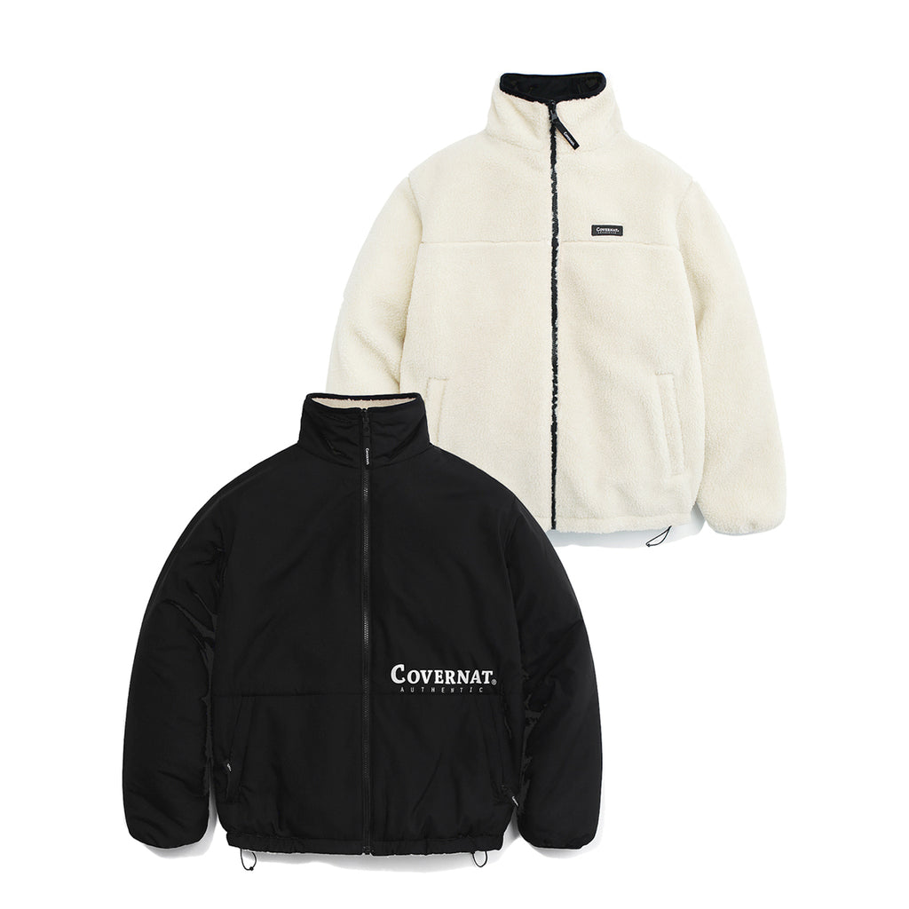 COVERNAT Reversible Fleece ZIP-UP Jacket  IV/BK  - HALLYU MART